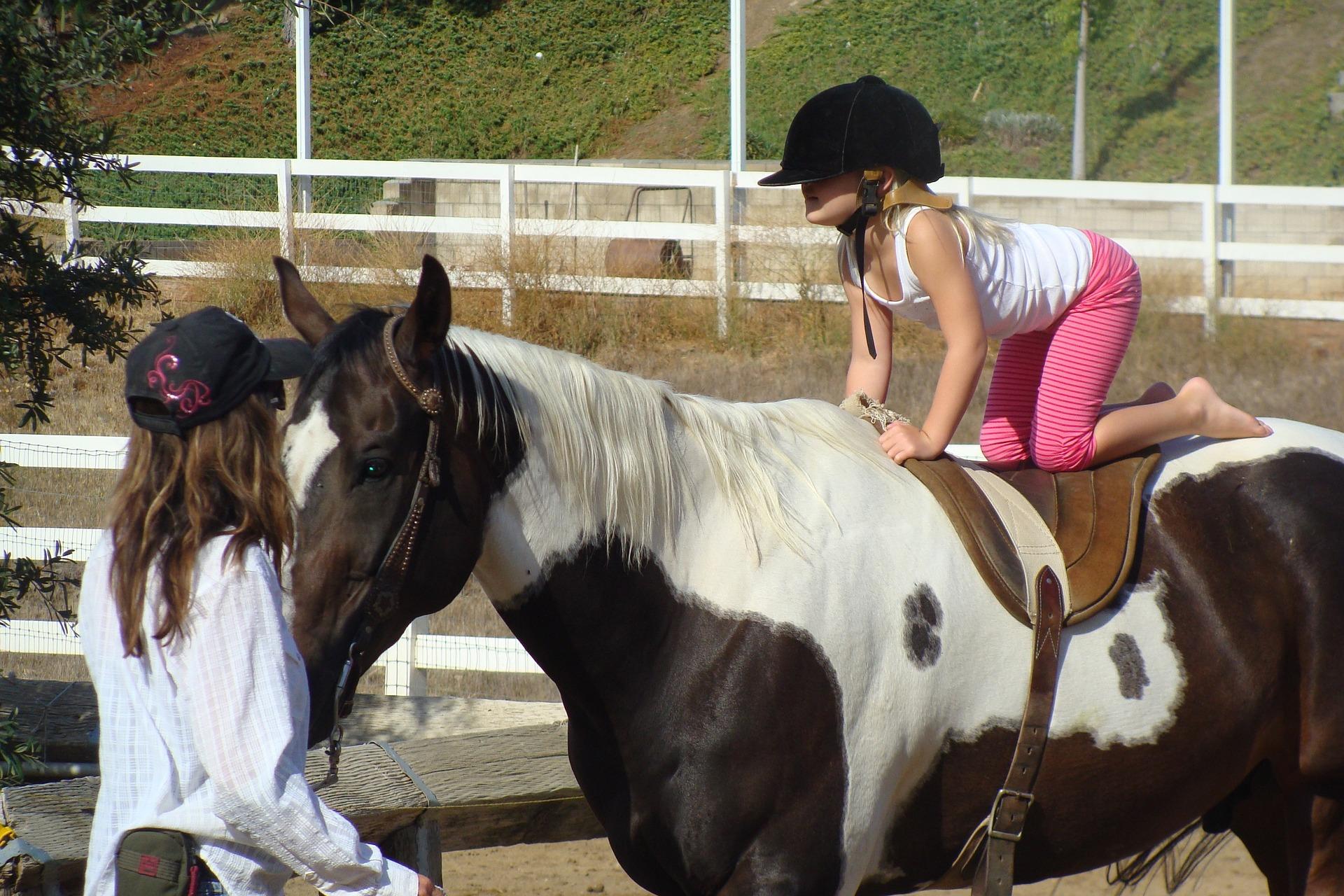 summer horse camp, girl riding horse